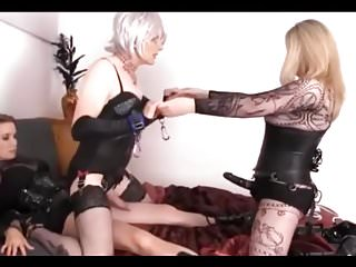 Two Dommes, Two Strapons...One Lucky Sissy