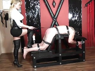 Femdom little spanking slave tied up on spanking bench
