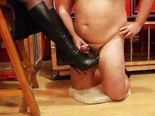 Cum on my leather boots