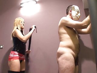 Hard whipping by blonde mistress