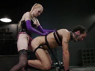 Svelte Blonde Dom Punishes and Fucks Slave