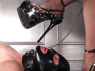 Femdomlady spiked High Heels male Slave Licking
