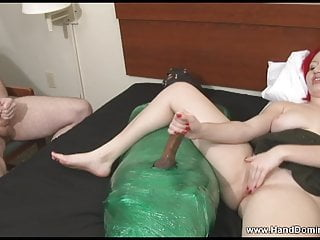 Cuckold husband watches as his wife pleases another man