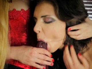 European dominatrix dildo fucked by sub babe