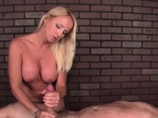 Mean cock massage by busty MILF