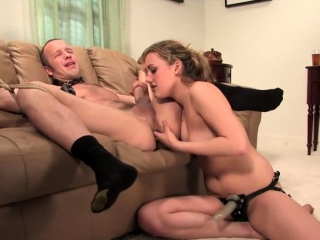 Gwen Diamond spanking and pegging guy