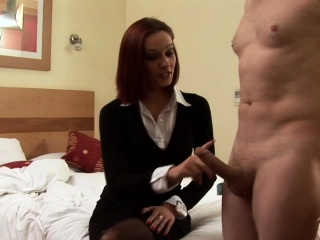 CFNM femdom tugs cock and spanks her sub