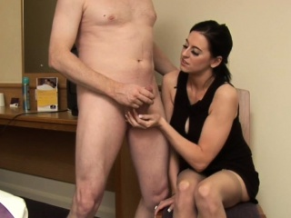 Stockinged amateur milf jerking dick in CFNM