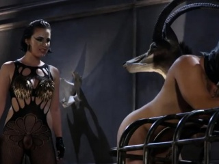 BDSM lady torturing submissive guy