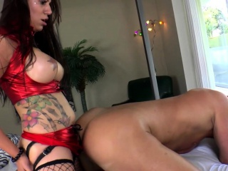 Busty prodomme pegging submissives asshole