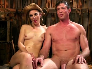 Hot Blonde Cowgirl Pegging Her Slave