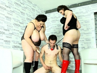 BBW femdom duo pegging gagged slave
