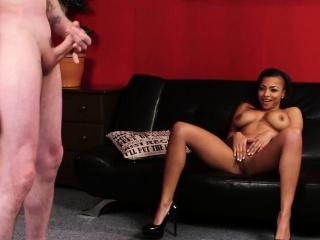 Ebony domina gets spunk