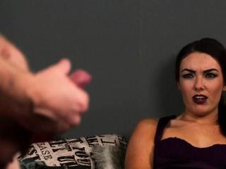 CFNM voyeur beauty enjoys sub jerking off