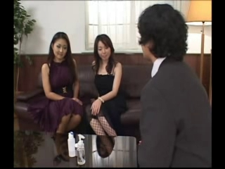 Two dominant Japanese whores and one lucky serf