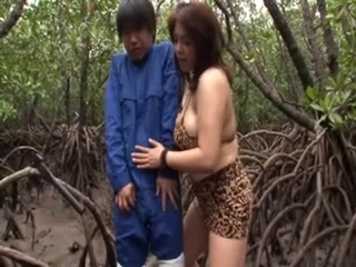 Japanese Breasty Mother I'd Like To Fuck sucks him in the woods