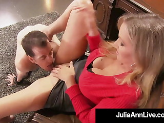 Busty Dominating Cougar Julia Ann face sits on her Boy Toy almost making it hard to breath as he sucks her pussy while she won't allow him to cum! Full Video & Julia Ann Live @ JuliaAnnLive.com!