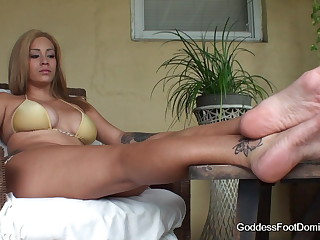 Female domination chastity tease foot licking