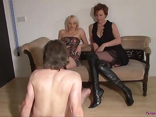 Female domination bootjob cum licking