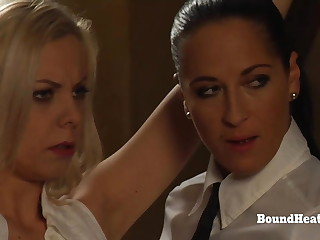Young Lesbian Girl In handcuffs Dominated By Merciless Mistress