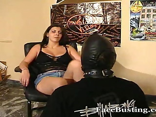 Female domination face slapping with feet