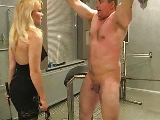 Whipped and caned by sadistic blonde mistress