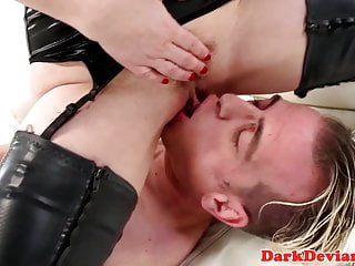 Vicious booted mistress pegs and fist male sub