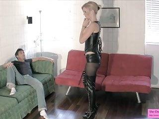 Dominatrix Busts Her Roommates Balls TEASING BALLBUSTING
